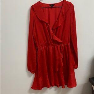 Ruffle elastic waist wrap dress